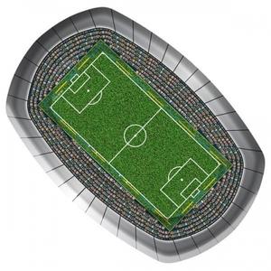 Serveringsstallrik i form av en fotbollsarena